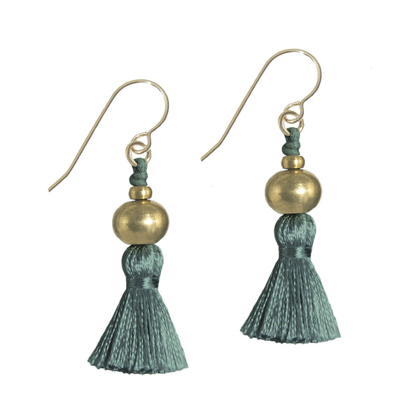 Deeta Mini Silk Tassel Earrings • Forest