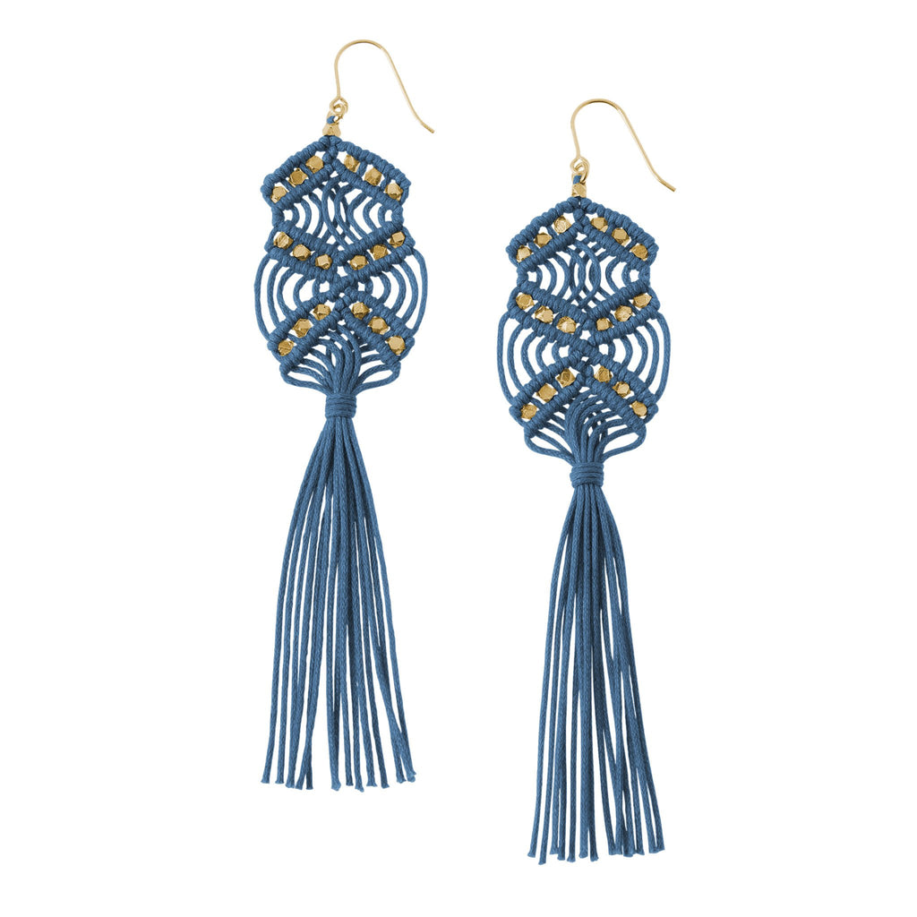 Gaia Tassel Earrings • Indigo