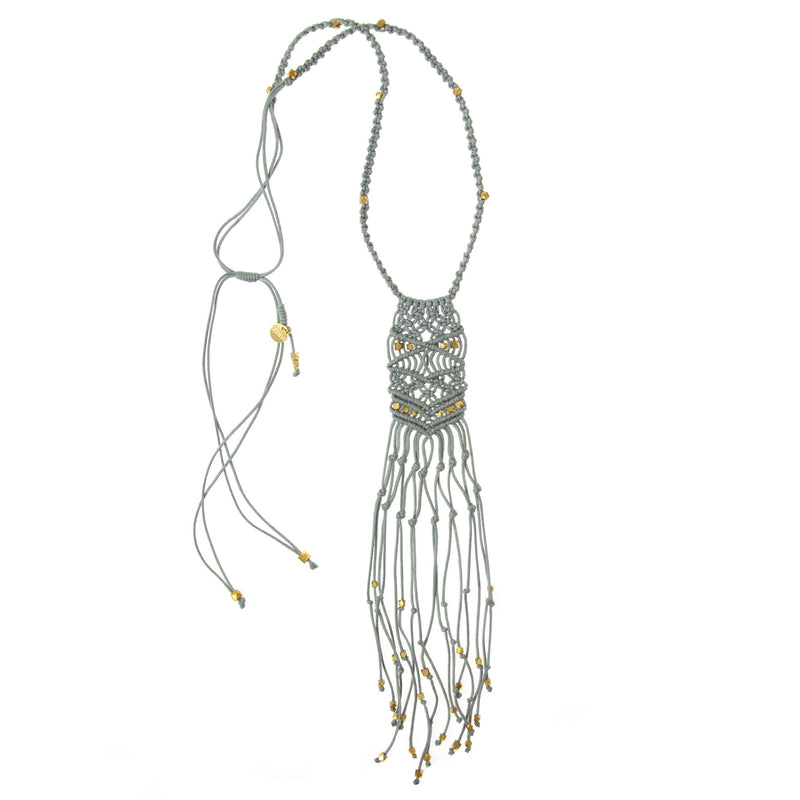 Kalliope Macrame Necklace • Brass