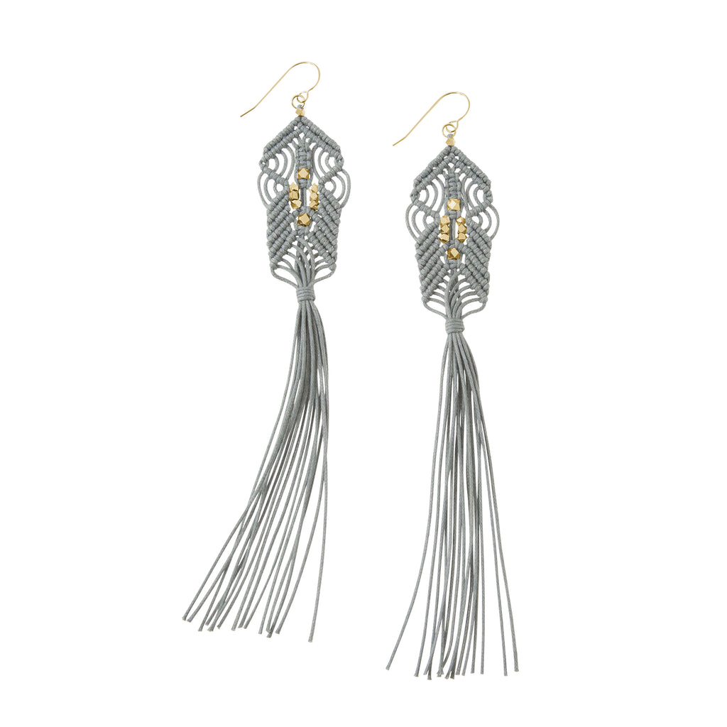 CORDA Danu Macrame Tassel Earrings in Grey and Gold