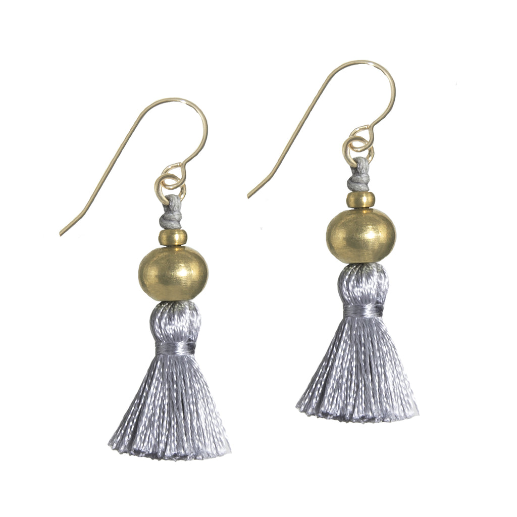 Deeta Mini Silk Tassel Earrings • Grey