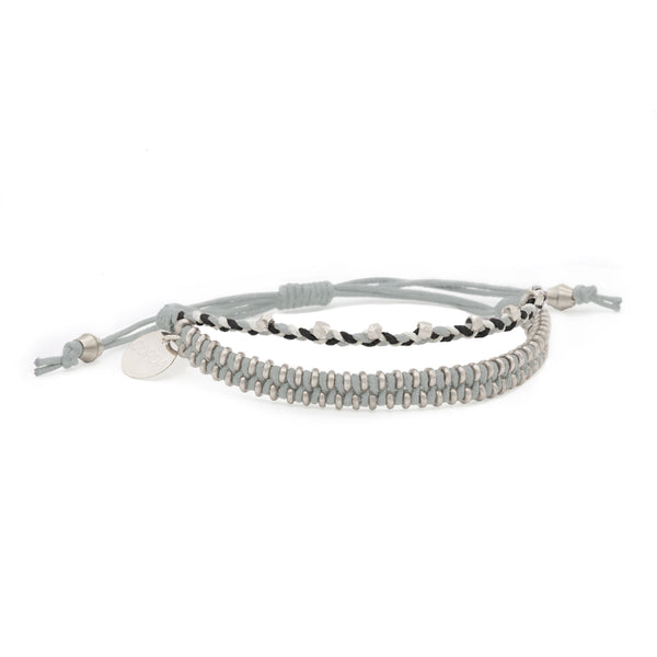 Juno Luxe Friendship Bracelet • Grey • Silver