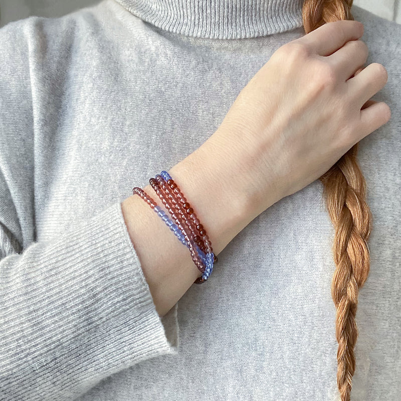 Translucent Glass beaded wrap bracelet in cerulean blue, rust and mauve. Doubles as a mask chain with rose gold clasps. Perfect Mother's Day gift. Spring, Summer accessory Pandemic style.