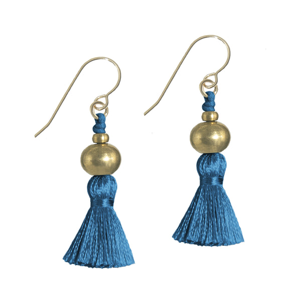 Deeta Mini Silk Tassel Earrings • Indigo