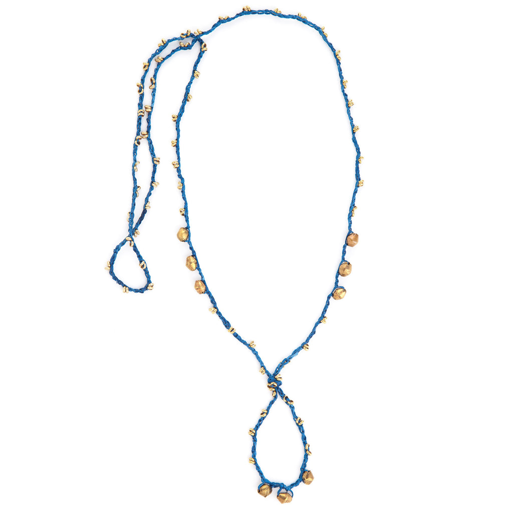 Epona Necklace • Indigo • Brass Beads
