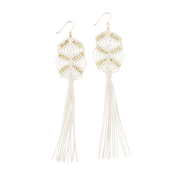 Large Maeve Tassel Earrings • Ivory