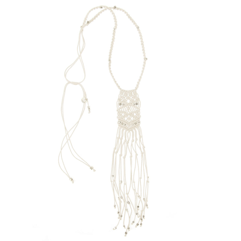 Kalliope Macrame Necklace • Silver