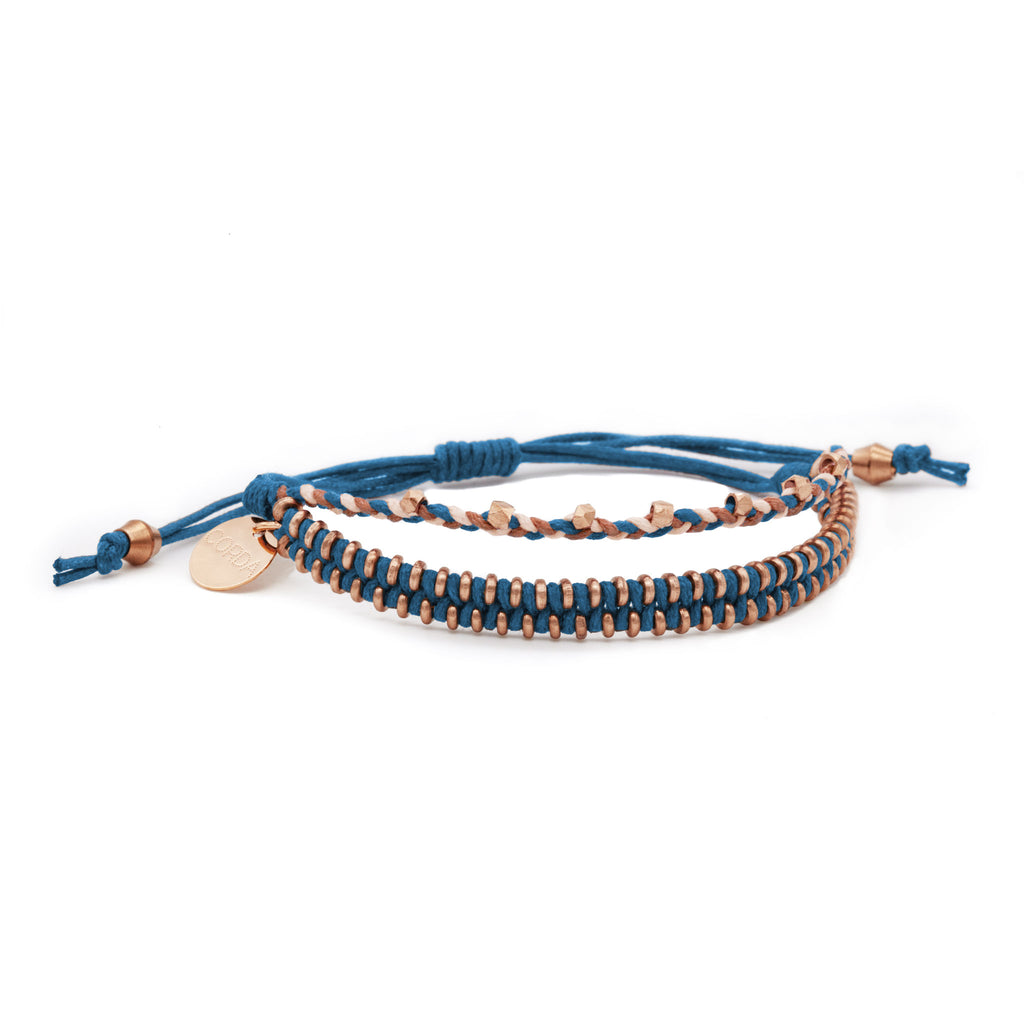 Juno Luxe Friendship Bracelet • Indigo • Rose Gold