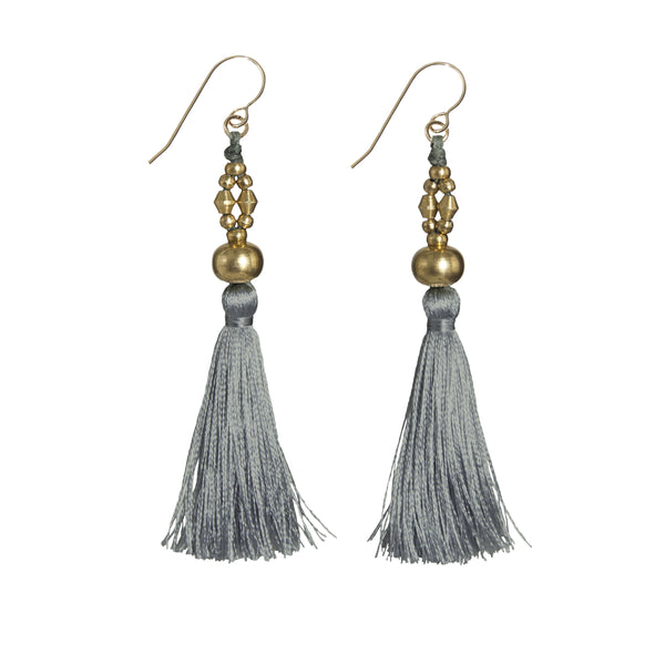 Bhaskari Silk Tassel Earrings • Lichen