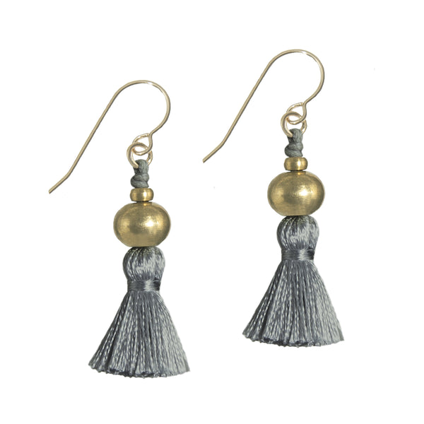 Deeta Mini Silk Tassel Earrings • Lichen