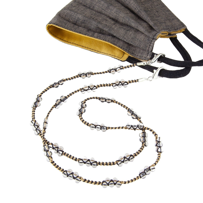 Linen face mask and braided glass bead mask chain. Pandemic Fashion. Keep your mask at the ready in style.