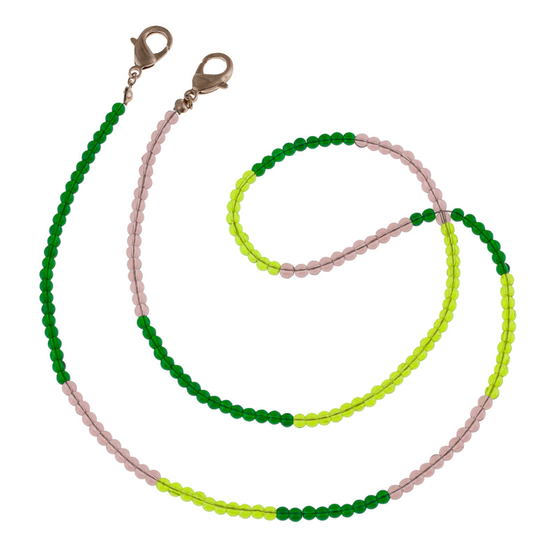 Translucent Glass Beaded Mask Chain in shades of Mint and Chartreuse. A pop of color for Mother's Day. Useful gifts for Mom that will help her during the Pandemic.