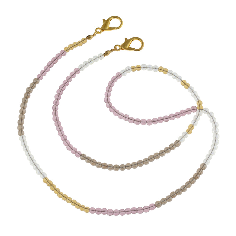 Translucent Glass Beaded Mask Chain in Lavender, Willow, and Ultimate Gray. Mother's day gift that doubles as a wrap bracelet. The perfect way to wear your mask.