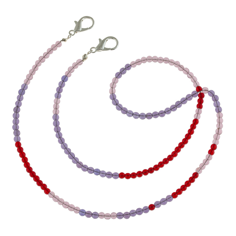 Color block Translucent Glass Beaded Mask Chain in Red, Pink and Purple. Sweet gift for the girl who can't keep track of her mask. Doubles as a wrap bracelet, and reminds us of a candy necklace.