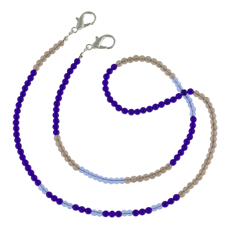 Pretty French Blue translucent Glass Beaded Mask Chain in cerulean, french blue and ultimate gray.