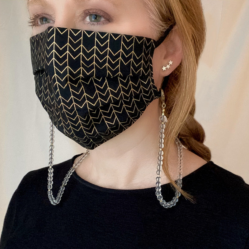 Translucent Glass Bubble Beaded Mask Chain designed by Kelli Ronci for CORDA. Pandemic Style.