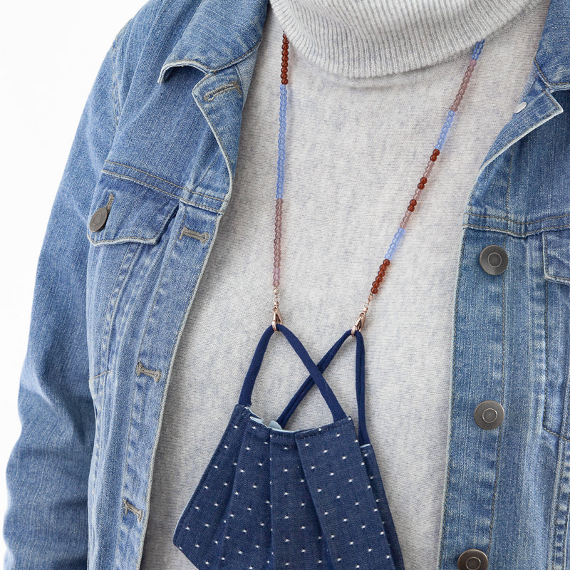 Where do I put my mask? Color block beaded mask chain in translucent glass beads. Cerulean, Rust and Mauve with Rose Gold clasps. Pairs perfectly with our Denim Dot face mask. Mother's Day gift Pandemic Style.