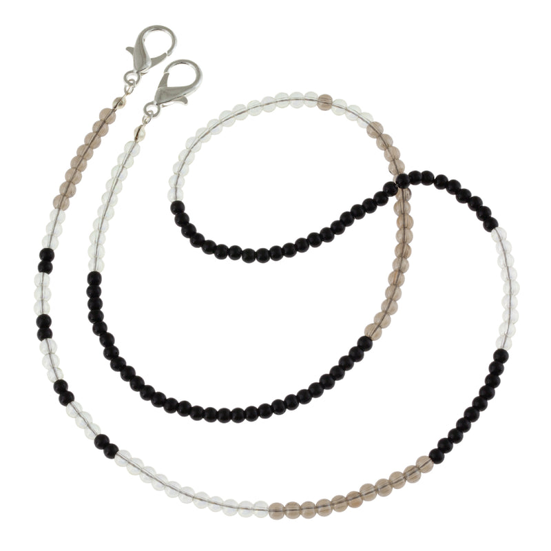 Translucent Glass Beaded Mask Chain in Black, White and Gray. Stylish Mother's day gift. Help her keep track of her mask.