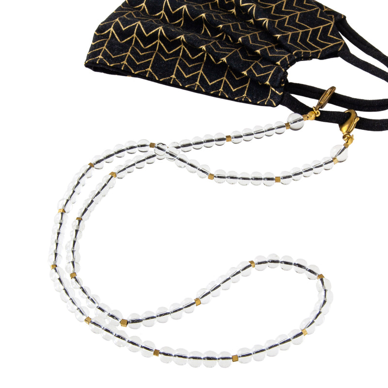 Translucent Glass Bubble Mask Chain in Black and Brass. Pandemic Style Fashion. Keeping track of your mask. Doubles as a necklace. Large clasps, perfect for all ear loop styles.