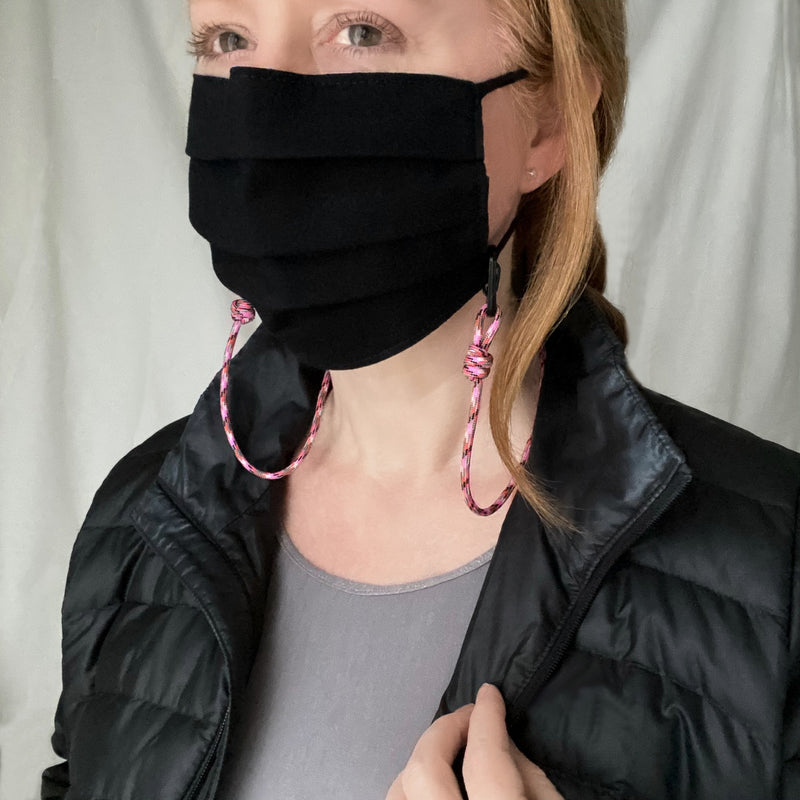 Paracord Lanyard Mask Chain in Bright Pink. Adult Size. Sporty Pandemic Style. Keep your mask at the ready while exercising. Mother's Day gift for sporty Mom.