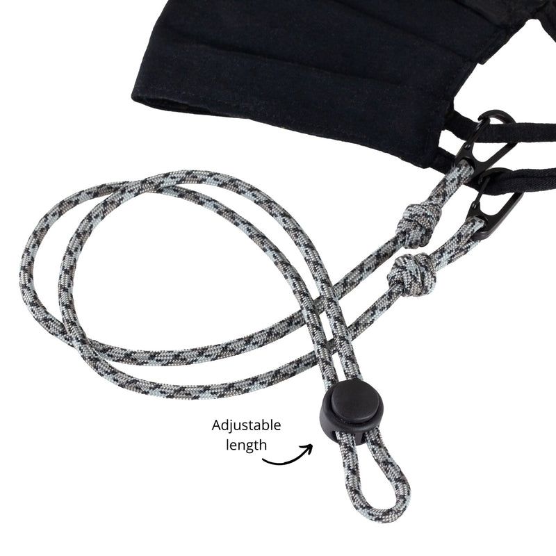 Grey Men's Paracord Mask Lanyard. Adjustable for custom fit. Perfect for exercising, fishing or hiking. Father's Day gift.