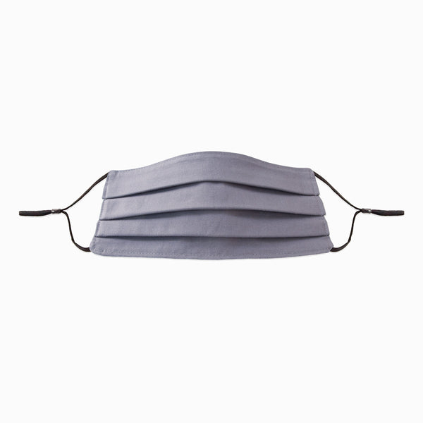 Medium Grey 2-ply Cotton Face Mask by Corda with adjustable earloops and metal noseband