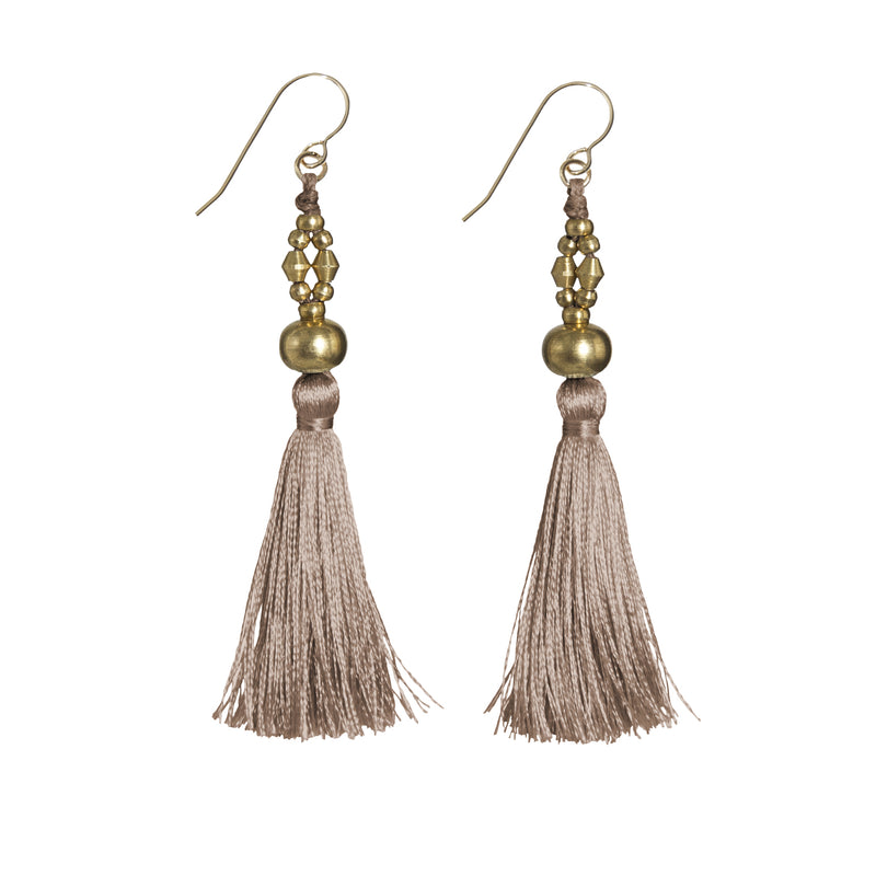 Bhaskari Silk Tassel Earrings • Brass