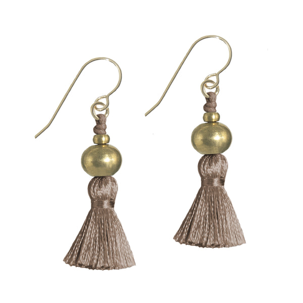 Deeta Mini Silk Tassel Earrings • Mink