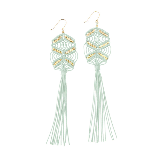 Large Maeve Tassel Earrings • Mint