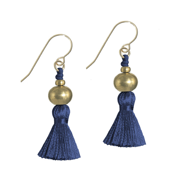 Deeta Mini Silk Tassel Earrings • Navy