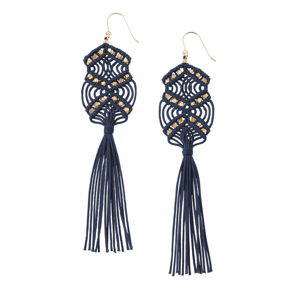 Gaia Tassel Earrings • Navy