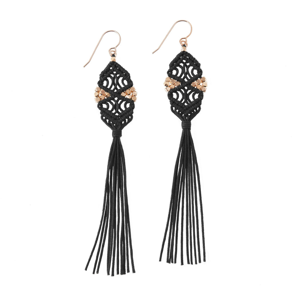 Rhia Tassel Earrings • Black