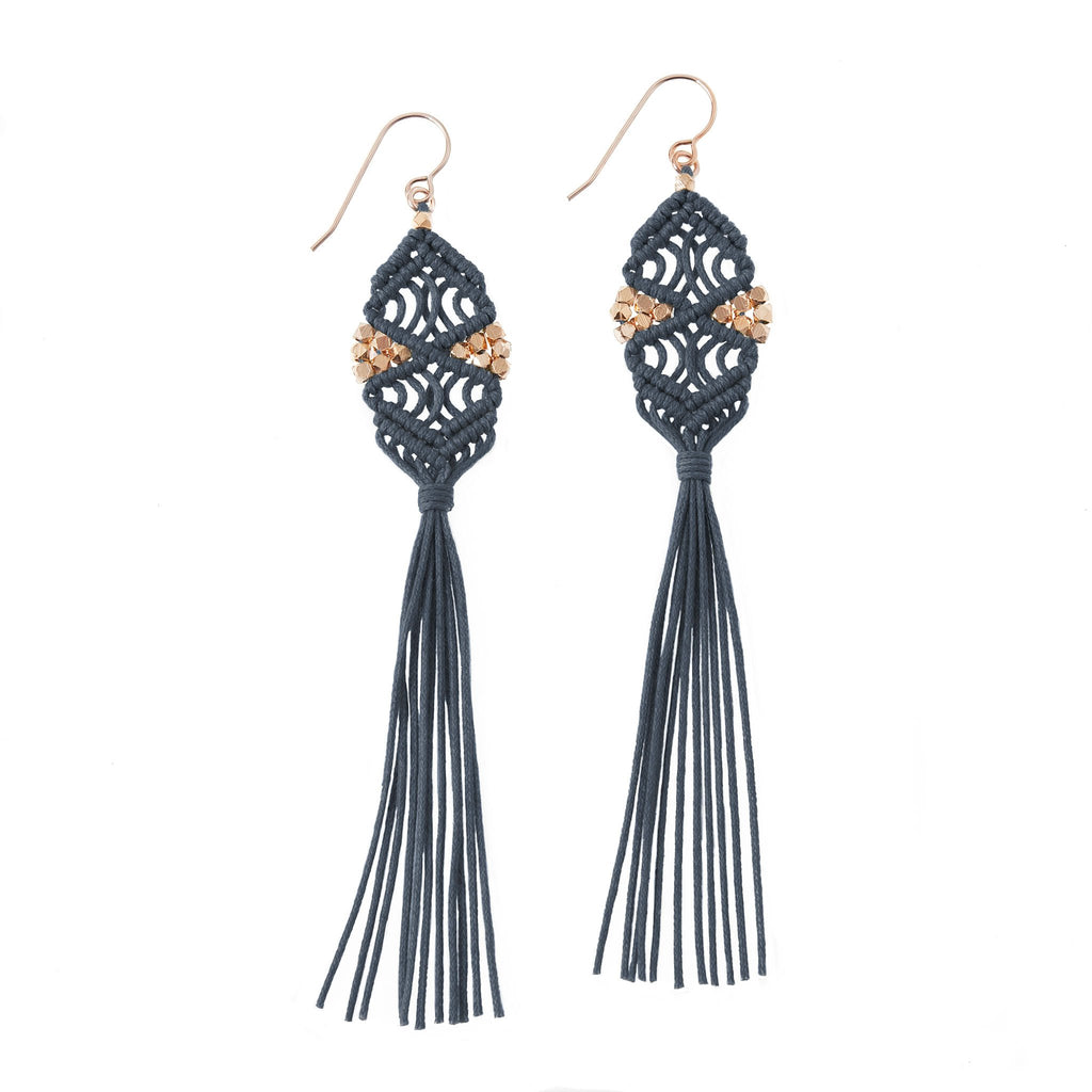 Rhia Tassel Earrings • Denim