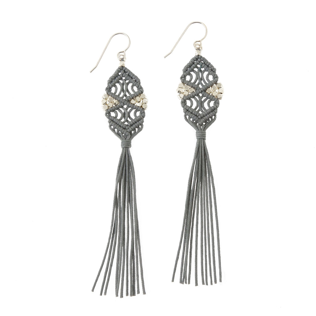 Rhia Tassel Earrings • Grey