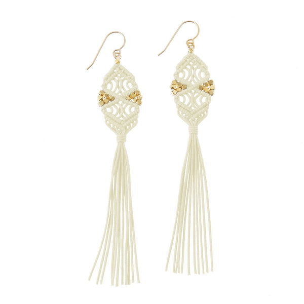 Rhia Tassel Earrings • Ivory