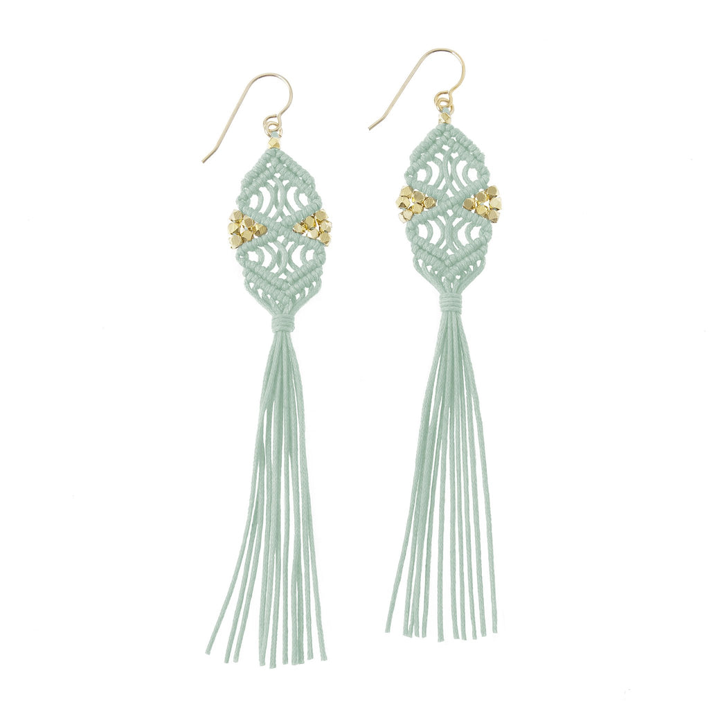 Rhia Tassel Earrings • Mint