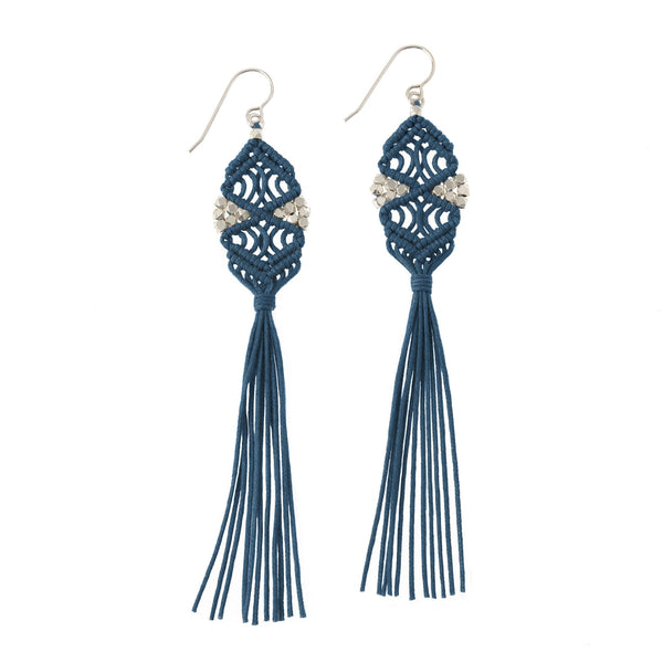 Rhia Tassel Earrings • Navy