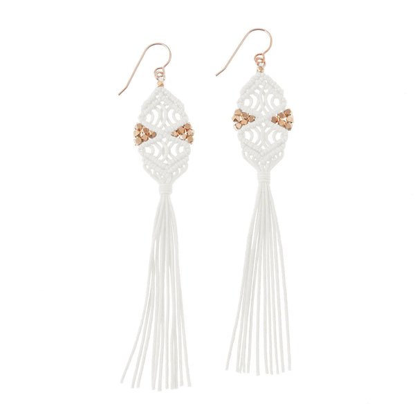 Rhia Tassel Earrings • White
