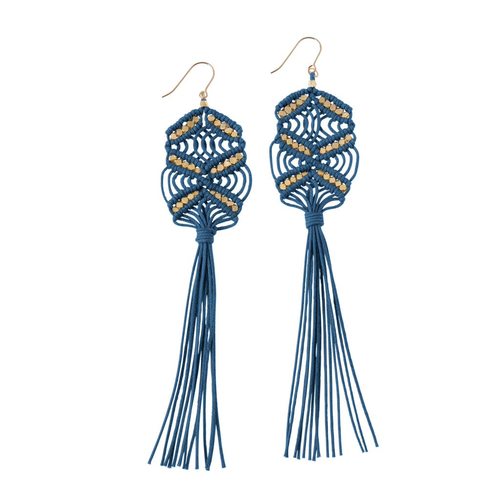 Rhiannon Tassel Earrings • Indigo