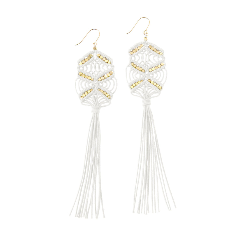 Rhiannon Macrame Tassel Earrings • Gold