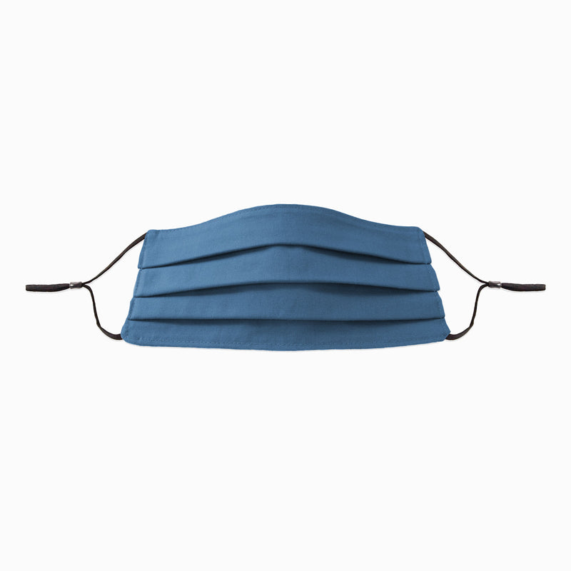 Royal Blue 2-ply Cotton Face Mask by Corda with adjustable earloops and metal noseband