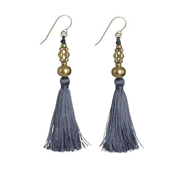 Bhaskari Silk Tassel Earrings • Slate