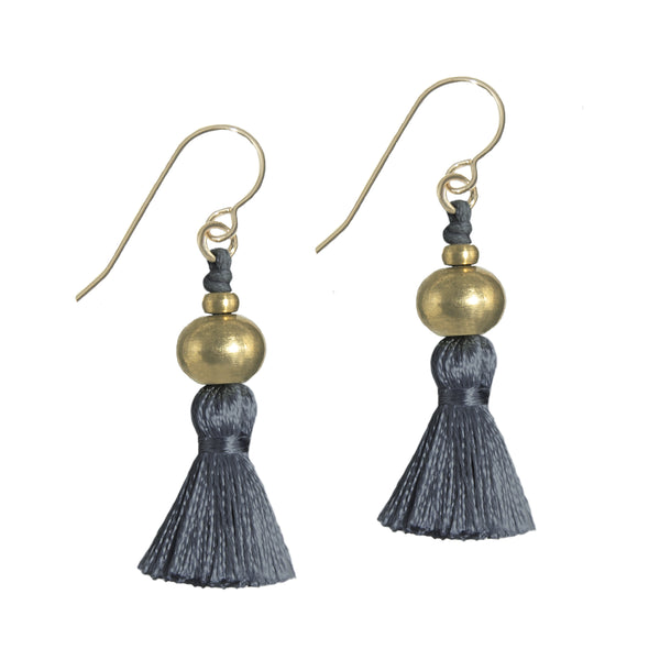 Deeta Mini Silk Tassel Earrings • Slate