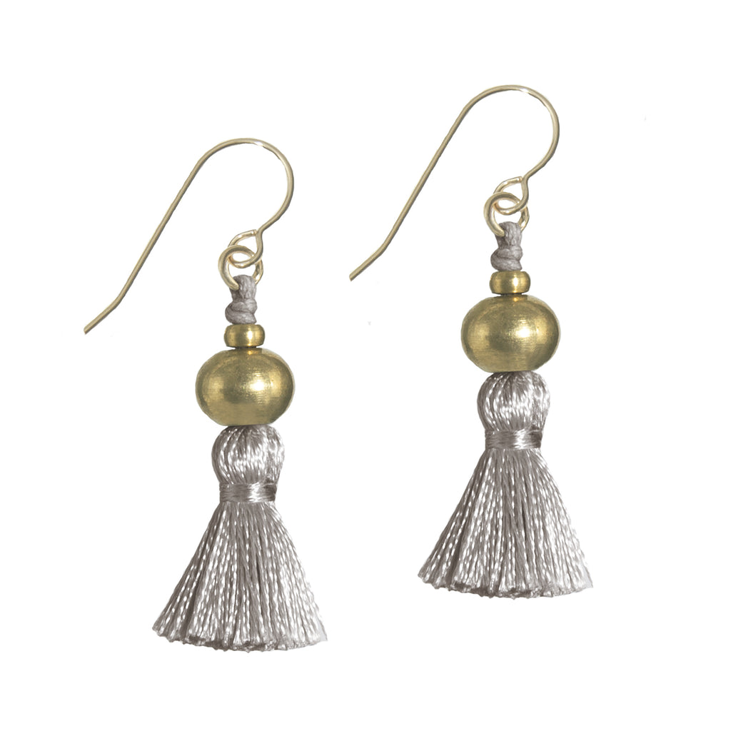 Deeta Mini Silk Tassel Earrings • Taupe