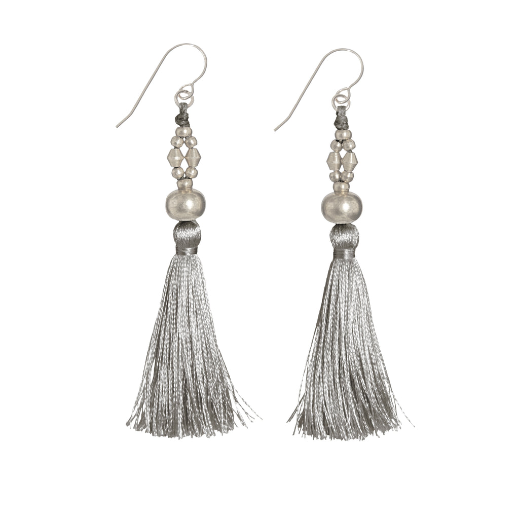 Bhaskari Silk Tassel Earrings • Taupe