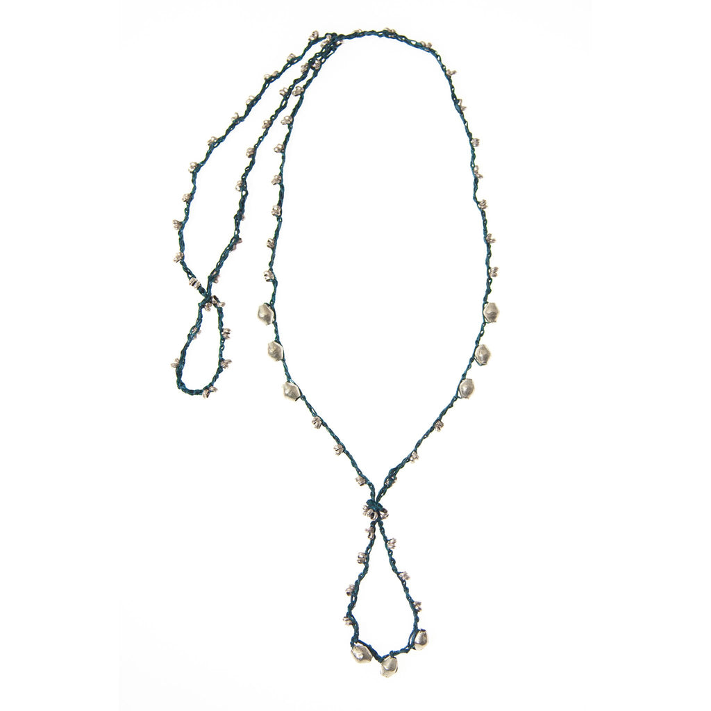 Teal and Silver EPONA Necklace by CORDA. 100% Silk Crochet with Ethiopian Silver beads, designed by Kelli Ronci