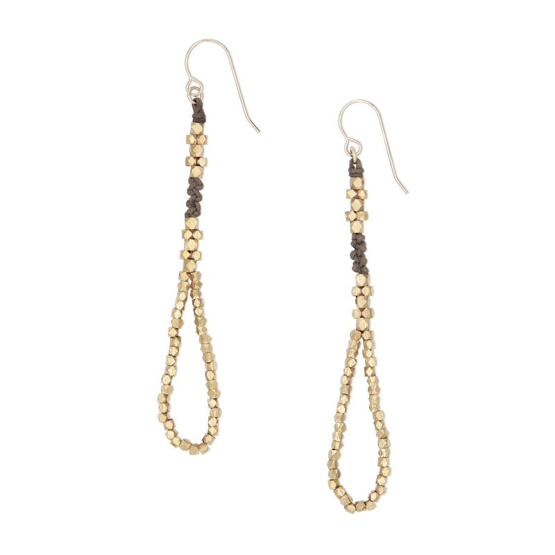Thalia Knotted Nugget Earrings • Brass