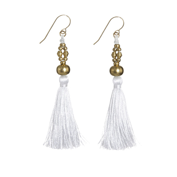 Bhaskari Silk Tassel Earrings • White