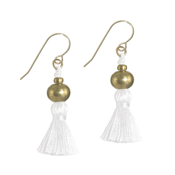 Deeta Mini Silk Tassel Earrings • White