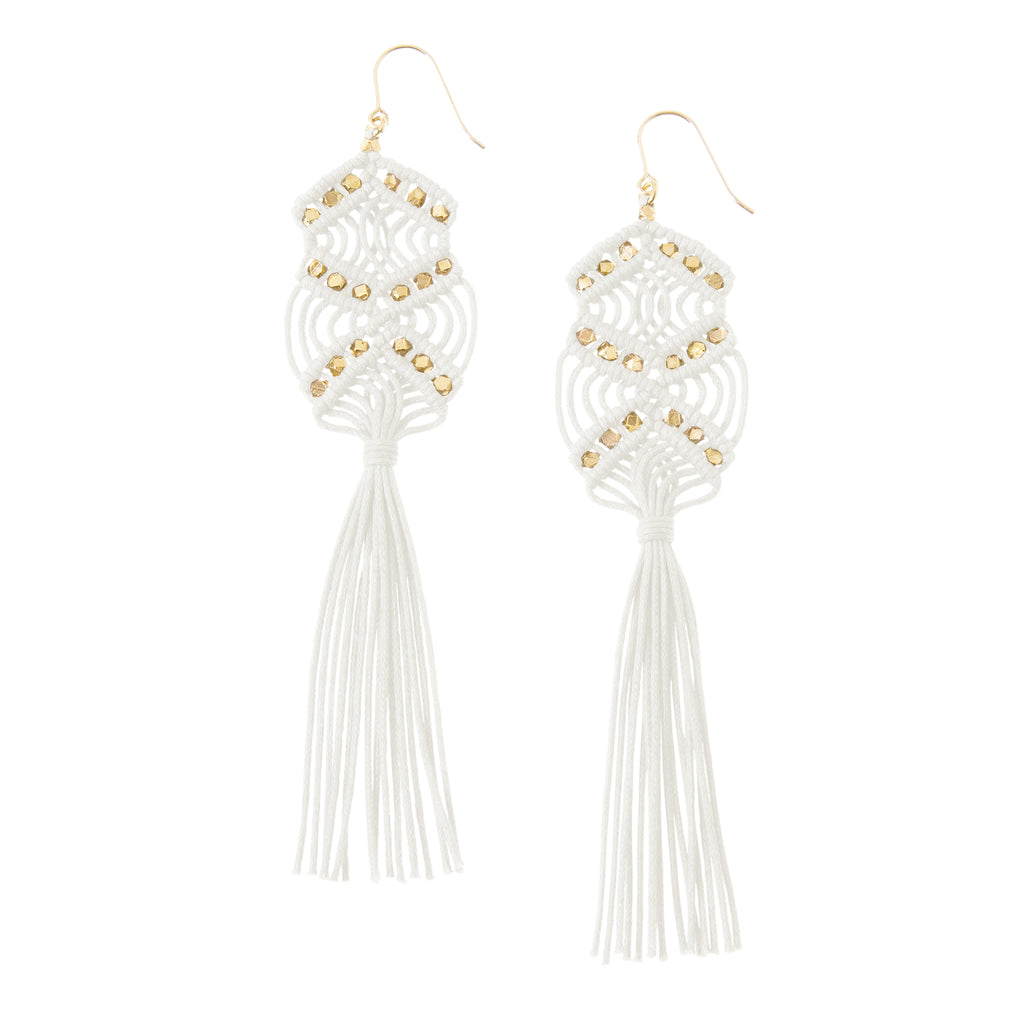 Gaia Tassel Earrings • White